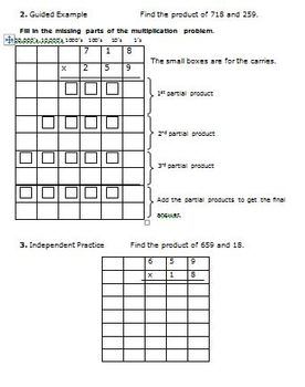 5th Grade Math Multi-Digit Multiplication - Standard Algorithm 5.NBT.5