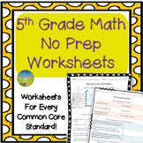 5th Grade Math NO PREP Worksheets