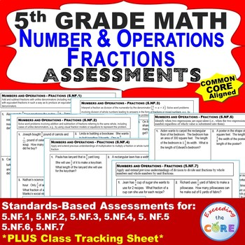 5th Grade NUMBER & OPERATIONS - FRACTIONS Assessments (5.NF) Common Core