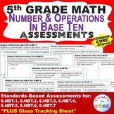 5th Grade NUMBER & OPERATIONS IN BASE TEN Assessments (5.NBT) Common Core
