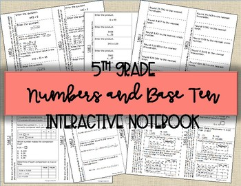 5th Grade Math Numbers and Base Ten Interactive Notebook