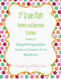 5th Grade Math Numbers and Operations-Fractions Common Core Daily Practice