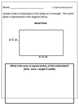5th Grade Math PSSA Open Ended Questions
