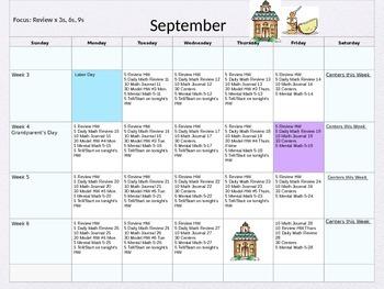 5th Grade Math Pacing Guide Calendar
