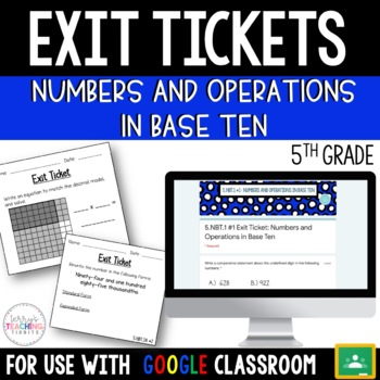 5th Grade Math Paper & Paperless Exit Tickets {Numbers & Operations in Base Ten}