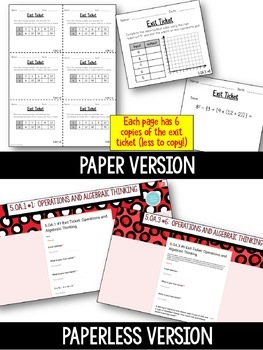 5th Grade Math Paper & Paperless Exit Tickets {Operations & Algebraic Thinking}