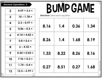 5th Grade Math Partner Games | Decimal Operations