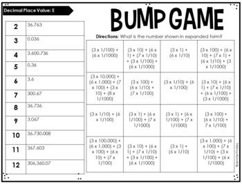 5th Grade Math Partner Games   Decimal Place Value