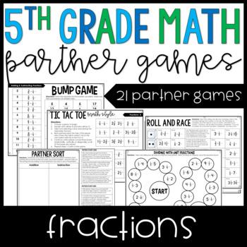 5th Grade Math Partner Games   Fraction Partner Games