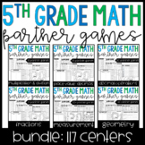 5th Grade Math Partner Games and Activities Bundle