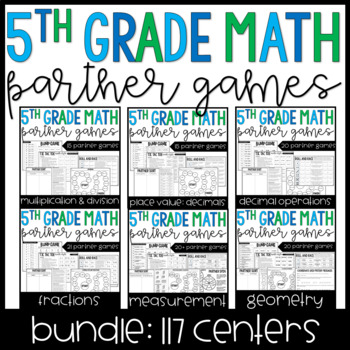 5th Grade Math Partner Games and Activities Bundle