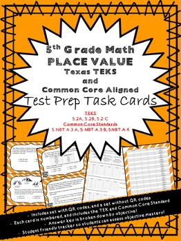 5th Grade Math Place Value Task Cards (Aligned to Texas TEKS and CCSS)