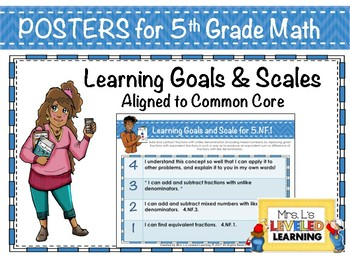 5th Grade Math Posters with Learning Goals and Scales - Aligned to Common Core
