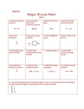 5th Grade Math Practice Packet - Magic Minute Math