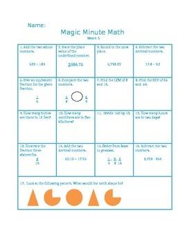 5th Grade Math Practice Packet - Magic Minute Math