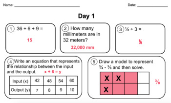 5th Grade Math Practice Review