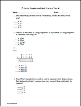 5th Grade Math Practice Test, Great for Any State 5th Grade Math Exam