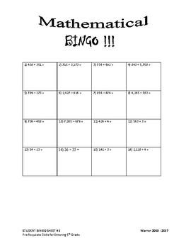 5th Grade Math Pre-Requisite Skills Assessment in Fun Bingo Format
