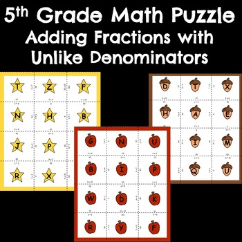 5th Grade Math Puzzle Center - Adding Fractions with different denominators