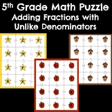 5th Grade Math Puzzle Center - Adding Fractions with diffe