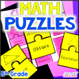 5th Grade Math Puzzles | Math Stations | Bundle | At Home