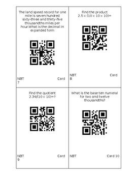 5th Grade Math QR Code Review