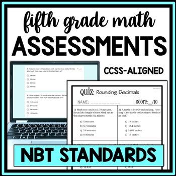 5th Grade Math: NBT Quiz Bundle, Covers All NBT Standards, 16 Total Assessments!