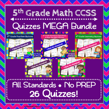 5th Grade Math Quizzes, 5th Grade Quizzes, Math MEGA Bundle: NO PREP