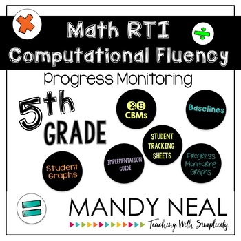 5th Grade Math RTI Computational Fluency Progress Monitoring