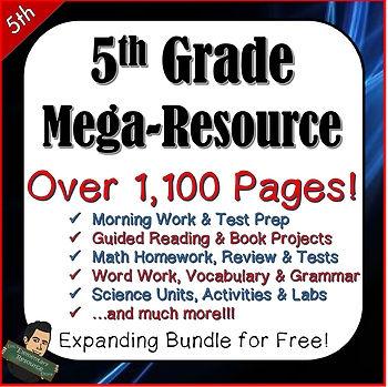 5th Grade Test Prep, Word Work, Morning Work, Guided Reading, Math and Science