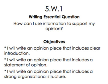 5th Grade Math, Reading, Writing Objectives and Essential Questions