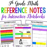 5th Grade Math Reference Notes for Interactive Notebooks - Distance Learning