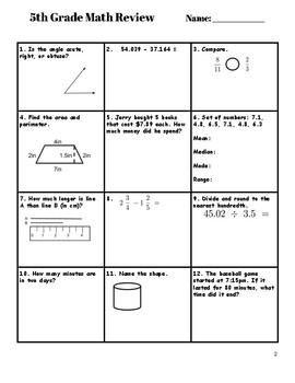 5th Grade Math Review