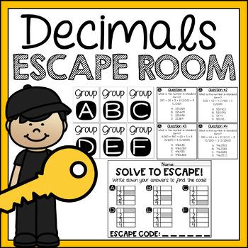 5th Grade Math Review Activity Decimals Escape Room / Breakout
