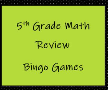 5th Grade Math Review Bingo Game