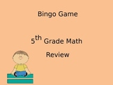 5th Grade Math Review Bingo Game, TCAP Review (Power Point)