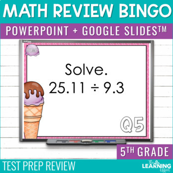 5th Grade Math Review Bingo Game | Test Prep by The Learning Effect