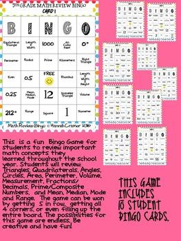 5th Grade Math Review Bingo (Virginia SOL Review Game)