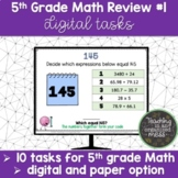 5th Grade Math Review Digital Task #1 Paper and Digital Option