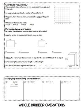 5th Grade Math Review Flipbook (& Back to School Review for 6th Grade)