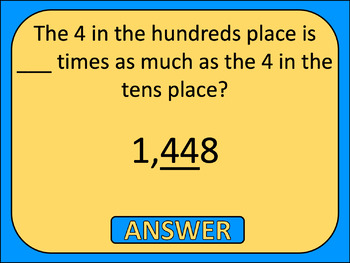5th Grade Math Review Game Show EDITABLE NBT Whole Numbers