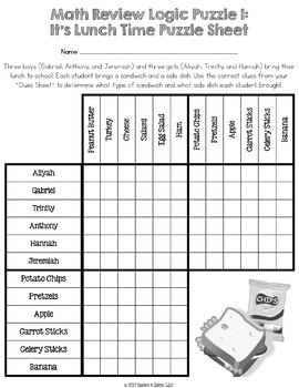 5th grade math review logic puzzle end of the year activity by games 4 gains. Black Bedroom Furniture Sets. Home Design Ideas
