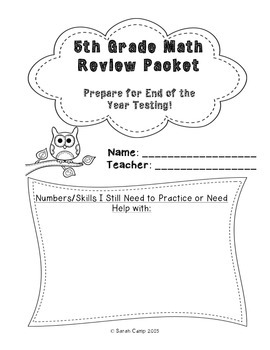 Current image for 5th grade math packet printable