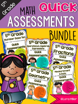 5th Grade Math Review: Quick Assessments BUNDLE