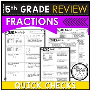 5th Grade Math Review: Quick Assessments – Fractions – 5.NF