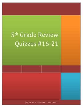 5th Grade Math Review Quizzes 16-21