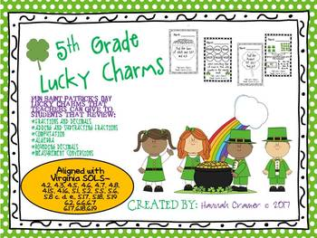 5th Grade Math Review Saint Patrick's Day Lucky Charms