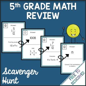 5th Grade Math Review Scavenger Hunt
