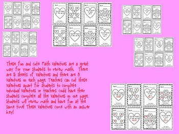 5th Grade Math Review Valentines