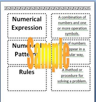 5th Grade Math Review Vocabulary and Definitions